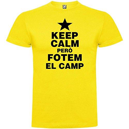 Camiseta Catalunya Keep Calm Pero fotem el Camp Manga Corta Hombre Amarillo XL