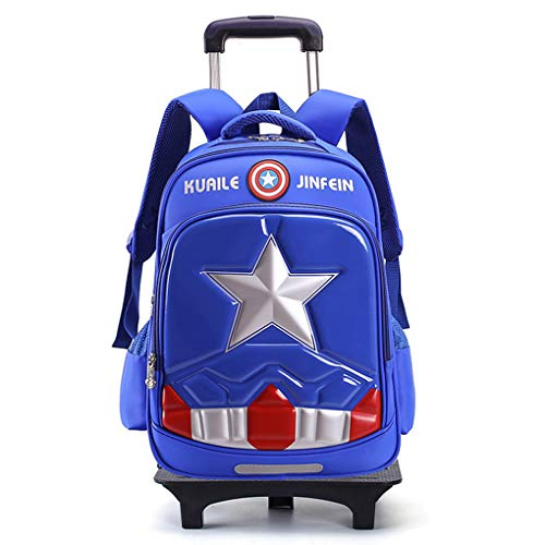 XNheadPS Superhéroe Carretilla Bolsas Ruedas para niños Los niños Hombre araña Equipaje Seguir adelante Mochila para escapadas, estancias, Dormir Estudios,Blue-2 Wheels