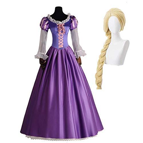 Disfraz de Cosplay de princesa Rapunzel para mujeres adultas, disfraz de drama para niñas y mujeres, vestido de fiesta con cordones morado, vestido de fiesta