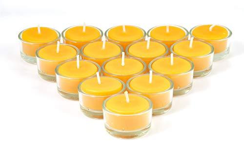 Imkerei Freese Teelichter aus 100% Bienenwachs vom Imker inkl. Teelichtbehälter aus Glas - 15 Stück