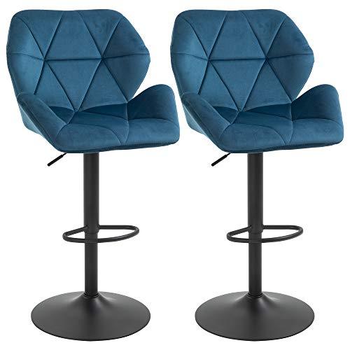 homcom Sgabelli da Bar o da Cucina, Set 2 Sgabelli Design Geometrico Imbottiti, Girevoli e con Altezza Regolabile, Blu