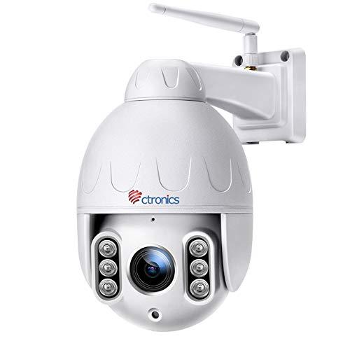 5MP Überwachungskamera Aussen, 5X Optischer Zoom, Ctronics WLAN PTZ Kamera Outdoor, IP Kamere Menschenerkennung 30m IR-Nachtsicht, Bewegungserkennung, IP 65 wasserdicht, Unterstützt SD-Karte