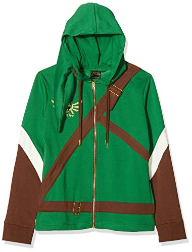 Bioworld EU Damen Nintendo Legend of Zelda Female Link Outfit Full Length Zip Hoodie Kapuzenpullover, Grün (Grün), L