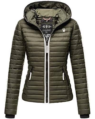 Navahoo Damen Jacke Steppjacke Übergangsjacke gesteppt Herbst Kapuze B811 [B811-Kim-Pri-Olive-Gr.M]
