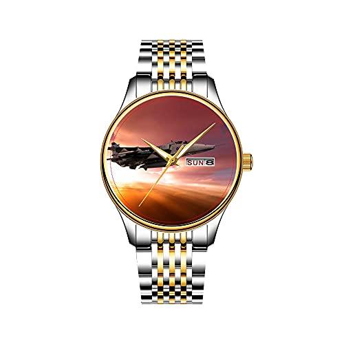 Jaguar - Reloj de pulsera para hombre (mecanismo de cuarzo, fecha, acero inoxidable), color dorado
