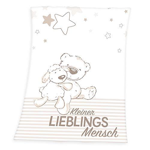 Flauschdecke Motiv : Kleiner Lieblingsmensch 75x100 cm Kuscheldecke Babydecke Schmusedecke (Natur Creme Hell Braun)