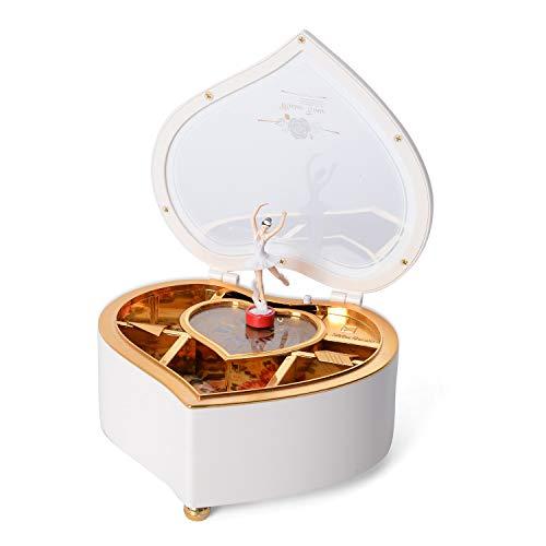 Valentine Ballerina Music Box Heart Shape Rotating Removable Magnetic Dancing Figurine
