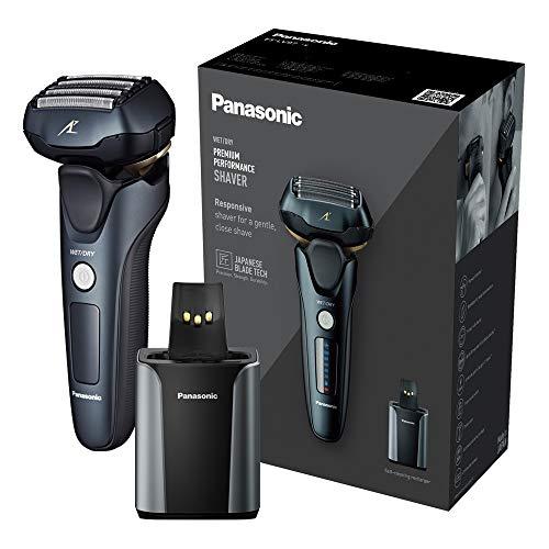 Panasonic ES-LV97 - Rasoio elettrico a 5 lame ricaricabile a umido e secco, con supporto di pulizia e ricarica