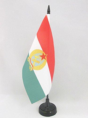 AZ FLAG Bandera de Mesa de la REPÚBLICA Popular DE HUNGRÍA 1949-1956 21x14cm - BANDERINA de DESPACHO HÚNGARA Antigua 14 x 21 cm