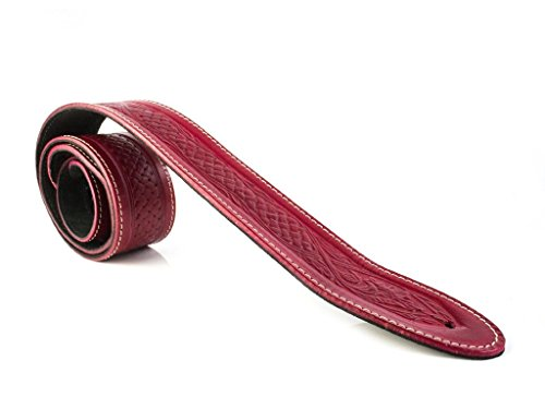 "LeatherGraft Red Genuine Leather Celtic Knot Texas Swirl Pattern Design 2"" Wide Guitar Strap"