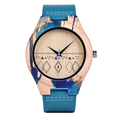 KUELXV Reloj de Pulsera de Madera Reloj de Madera Natural Hecho a Mano, analógico, japonés, Movimiento de Cuarzo, Reloj de Pulsera de Madera para Hombres, Mujeres, Relojes Minimalistas, Reloj versá