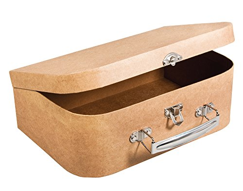 24cm Large Paper Mache Suitcase with Metal Handle to Decorate