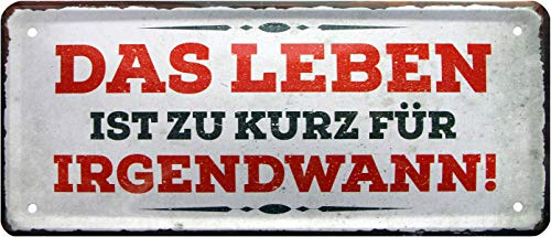 La Vie est trop Courte pour Les Irgends. Rahmenlos 974 Plaque métallique décorative 28 x 12 cm