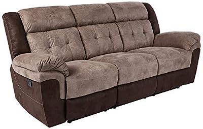 "Homelegance 9980 Reclining Sofa, 91"" W, Brown"