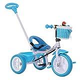 Triciclo Bebe Evolutivo,Niños Triciclo Infantil Bicicleta Control Parental Desde el Mango Banda de Goma Ruedas de Gomas y Conducción Silenciosa para Niños de 6 Meses a 5 Años Máx 30 kg, Blue