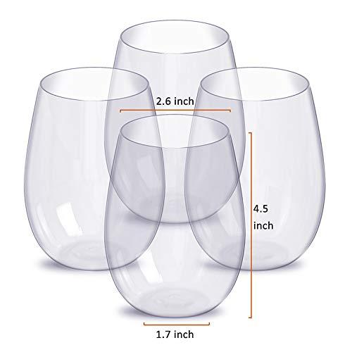 YMYGCC Copa de Vino 4 PC sin pie Transparente del Vidrio de Vino Conjunto de plástico del Vino Taza de la Bebida Taza de Agua (Size : Clear 4 Pcs)