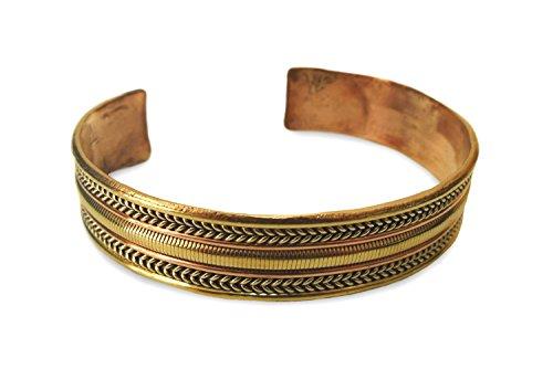 Schmuck Armreif aus Metall Kupfer, Messing, Weißmetall gebördelt, 3-Metall Armband Armschmuck Armreifen handgefertigt