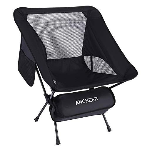 ANCHEER アウトドアチェア 折りたたみ キャンプ椅子 アルミ【耐荷重150kg】コンパクト 900g イス 椅子 収納袋付属 釣り 登山 携帯便利 (ブラック)
