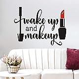 Adhesivo decorativo para pared con texto 'Wake up and Make up' y 'Make up up and Make up' («Wake up and Make up» («Wake up and Make up»), diseño de palabras de arte exclusivas para la pared