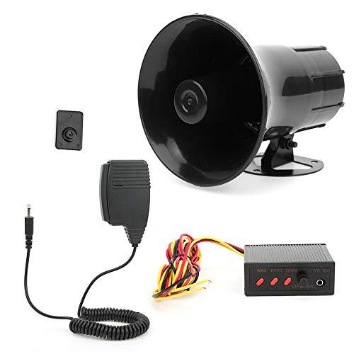 Suena fuerte alarma de advertencia de coche, Universal Sirena de advertencia de bocina de alarma de coche Altavoz automático con sonido de 3 tonos y megáfono 115dB 50W