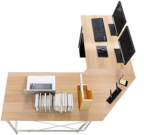 sogesfurniture Escritorio de Computadora en Forma de L, 150cm + 150cm Mesa de Ordenador Mesa de Estudio Estación de Trabajo, Mesa Esquinera para Casa, Oficina, Arce Blanco LD-Z01MO-BH ⭐