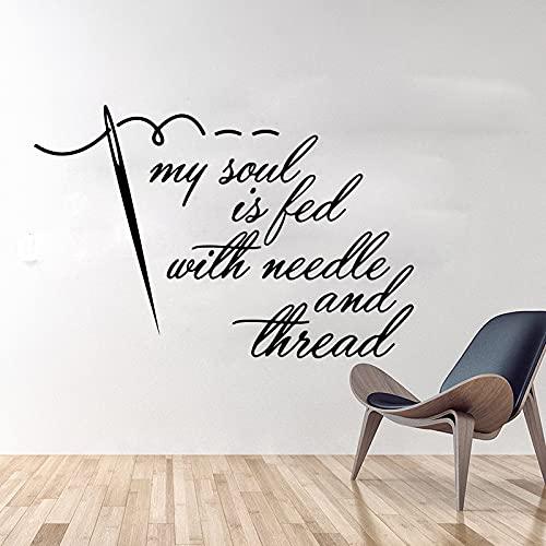 Mijn ziel wordt gesanctioneerd door naald en draad muurstickers naaien naaien ambachten gevoed muurstickers vinyl woonkamer decoratie 95x62cm