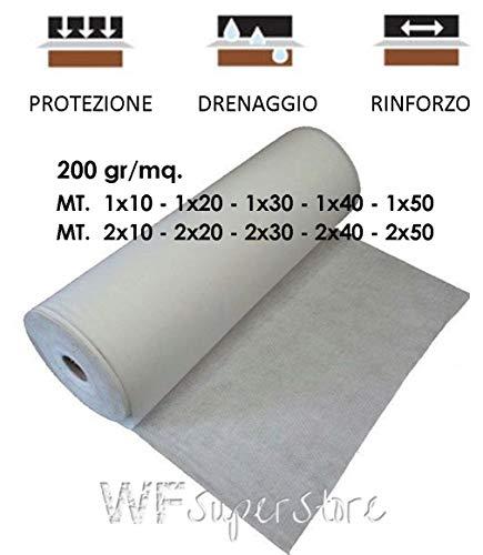 WUEFFE S.R.L. Geotessuto drenante Tessuto Non Tessuto Anti Erbacce Telo antiradice 200 gr/mq (mt. 2x10 = mq. 20)