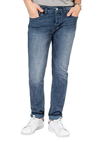 Sky Rebel Herren Jeans-Hose Slim Fit mit Abnähern Light-Blue 33