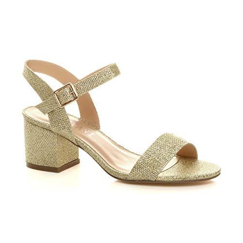 Sandalias de fiesta con tiras para mujer, talón medio y bajo, con tacón de bloque, correa al tobillo, talla