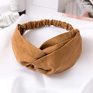 Hair band Women Hair Accessories Headband Vintage Cross Knot Elastic Hair Bands Soft Solid Girls Hairband MJZCUICAN (Color : Khaki, Size : Free)