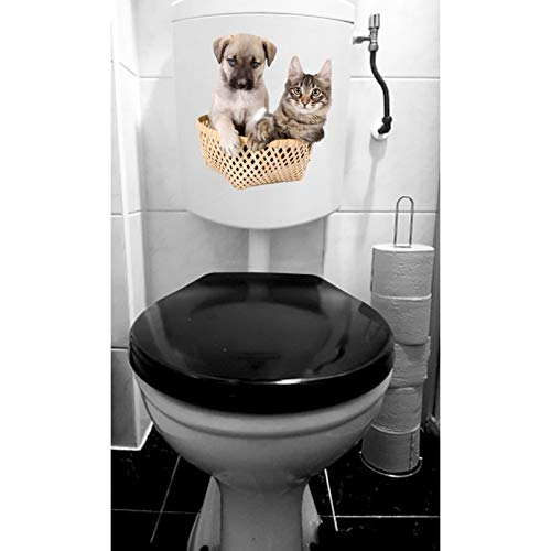 zkfornasetti Wc-sticker 19,4 * 22,1 cm Katten en honden in bamboe manden Animal Room muurstickers Wc-sticker