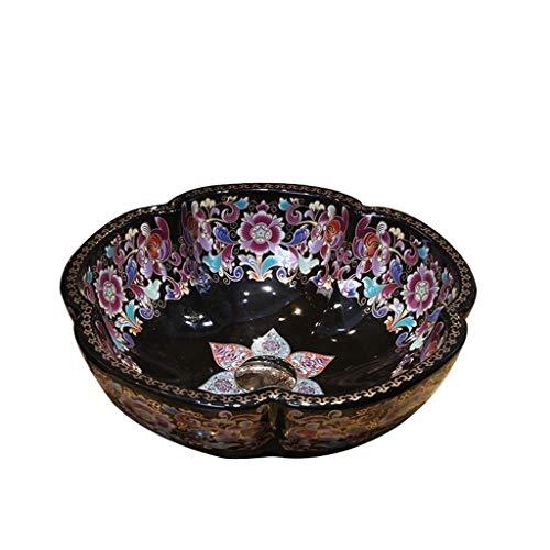 HIZLJJ Colorido artístico de baño de cerámica Encima del Contador del Buque Fregadero de la vanidad Tazón (Color : Style C)