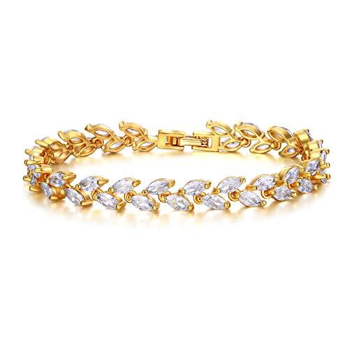 EVER FAITH Damen Armkette Hochzeit Zubehör Zirkonia 2 Schichten Small Blatt Roman Tennis Armband für Frauen Mädchen
