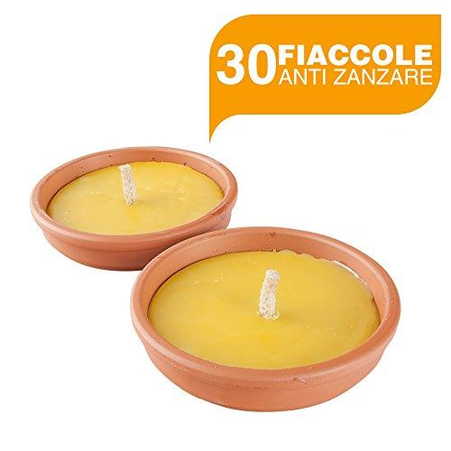 BuyStar Set 30 fiaccole anti zanzare con vaso terracotta Ø11 Cm aroma citronella