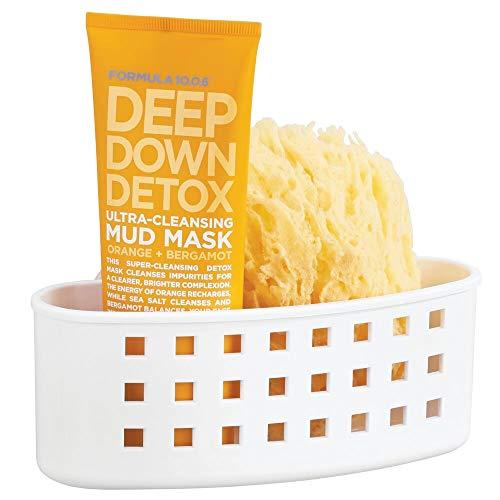 mDesign Estante para baño con ventosas – Cesta para ducha de plástico para el jabón y la esponja – Repisa de baño sin taladro para utensilios de baño – blanco