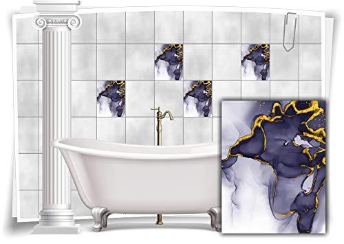 Medianlux Adhesivo decorativo para azulejos, diseño de mármol, óleo, pintura abstracta para baño, color dorado y gris, 8 unidades, 15 x 20 cm m23m12h-136894