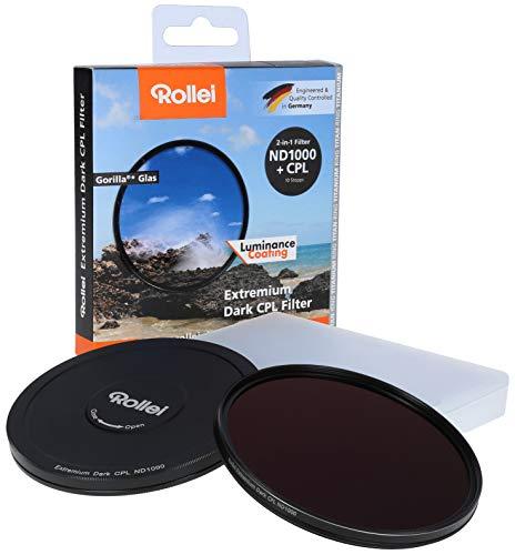 Rollei Rundfilter Extremium Dark CPL ND1000 Stopper 72 mm - 2 in 1 Filter aus Polarisationsfilter (Polfilter) und neutralem Graufilter (Neutraldichtefilter) mit Titan-Ring - ND1000 (10 Stopps/3,0)