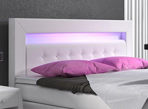 Boxspringbett 180×200 weiß mit Bettkasten LED Kopflicht Kunstleder Hotelbett Polsterbett Venedig - 4