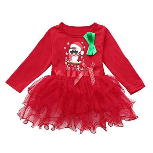 BaZhaHei Robe Bébé Fille Hiver Noël Cartoon Santa Christmas Xmas Rayé Paillettes Blings Gaze à Volants Tutu Patchwork Robe Jupe Filet 6 Mois- 4 5 6 Ans(18-24 Mois,Rouge c)