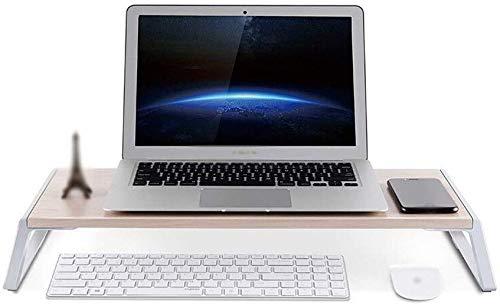 Platformhouders, computermonitor, bureauhouder, houder voor keyboards, kleine tafel van hout + aluminiumlegering, statief. Dark Coffee Color
