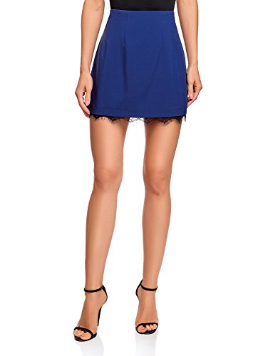 oodji Ultra Mujer Falda con Cremallera y Acabado de Encaje, Azul, ES 42 / L