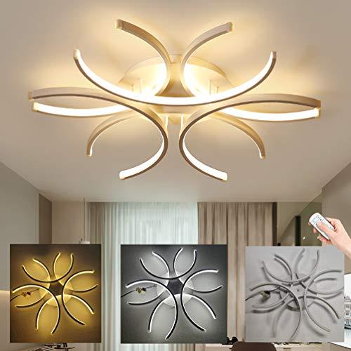LED Wohnzimmer-Lampe Deckenleuchte Modern Deko Schlafzimmerlampe Blume-Form Deckenlampe Dimmbar WohnzimmerLampe Decken Leuchte 72W mit Fernbedienung Weiß Acryl Schirmlampe Esszimmer lampe Ø60cm