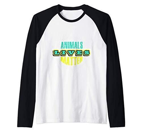 Animals Lives Matter Cute Animal Lover Vegan Gift Raglan Baseball Tee