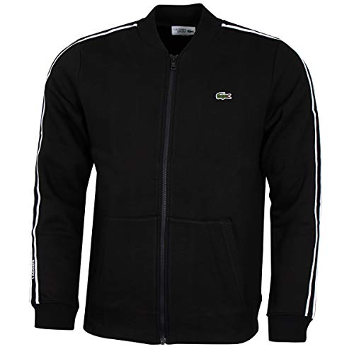 Lacoste Herren SH4898 Sweatjacke, Männer Sweatshirt Reißverschluss,Logo, Regular Fit,Black/White-Black(6KJ),Large (5)