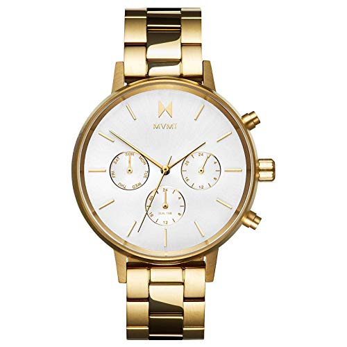 MVMT Nova Womens Watch, 38 MM   Stainless Steel Band, Analog Watch, Chronograph with Date   Gold Link