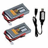 7.4V 2200mAh 8C Li-po Battery for Futaba T14SG 16SZ 18SZ 4PLS Transmitter Battery 2 Pack with USB Charge Cable
