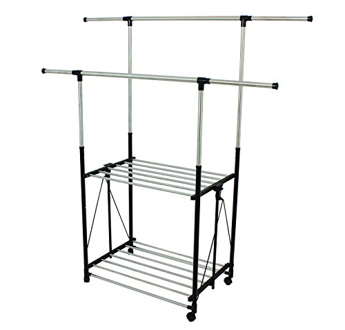 Greenway Stainless Steel Collapsible Double Bar Garment Rack