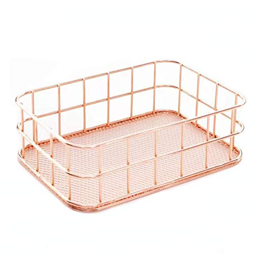 Rose Gold Wire Basket, Desk Drawer Organizer Nesting Copper Mesh Storage Box for Home Office Bathroom and Bedroom,6.7' L×4.7' W×2.3' H
