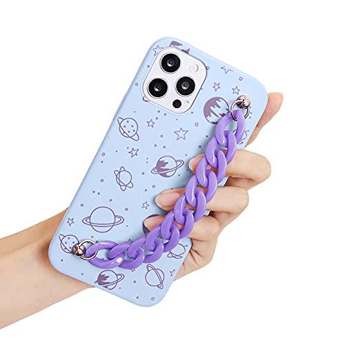 Funda con Cuerda para Xiaomi Mi 8 Lite 6,26' con Cadena, Carcasa de Silicona para Teléfono Móvil con Trasera Pulsera y Diseño Patrón Protector Estuches con Colgante Correa, Universo