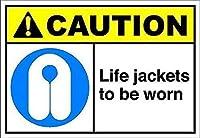 着用するライフジャケット注意。金属錫サイン通知街路交通危険警告耐久性、防水性、防錆性